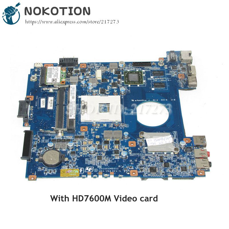 NOKOTION A1876092A DA0HK6MB6G0 MBX-268 MAIN BOARD For Sony Vaio SVE14 Laptop motherboard DDR3 HD7600M Video card nokotion a1876092a da0hk6mb6g0 mbx 268 main board for sony vaio sve14 laptop motherboard ddr3 hd7600m video card