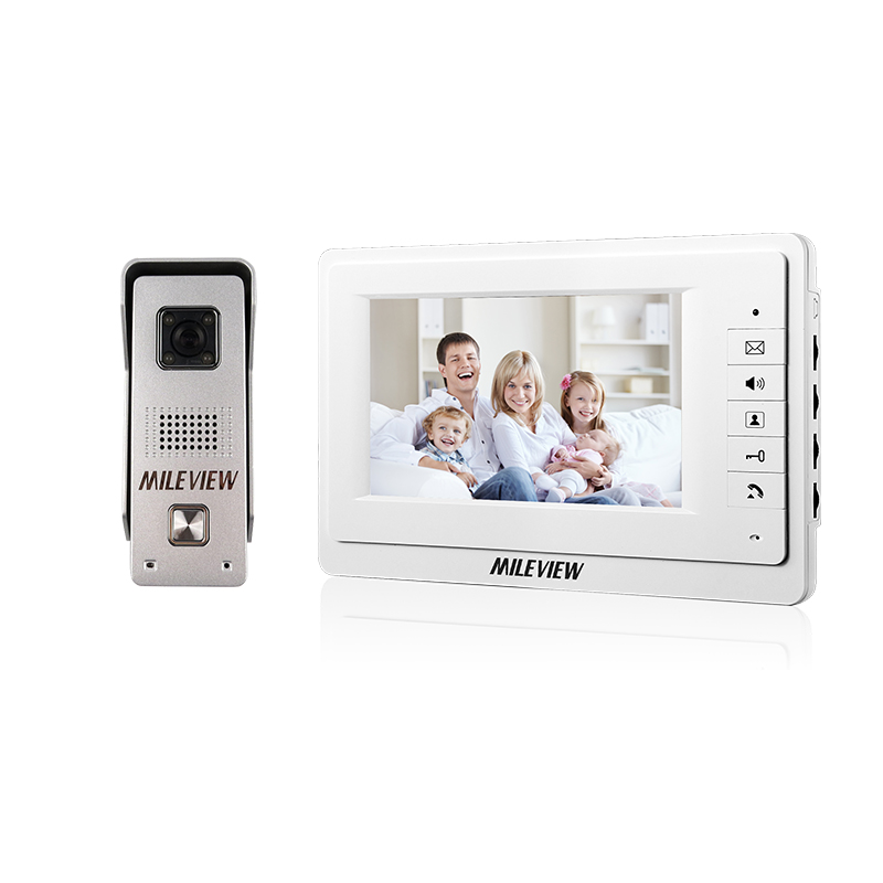 FREE SHIPPING Wired 7 inch Video Intercom Home Door Phone System 1 White Monitor 1 Waterproof Doorbell Camera In Stock Wholesale free shipping new 7 inch video intercom door phone system 1 monitor 1 rfid access doorbell waterproof camera inductive card