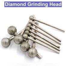 10 pces 2.35/3mm shank diamante cabeça de moagem conjunto esférico revestido montado esferas bit burr lapidação ferramenta pedra preciosa para dremel