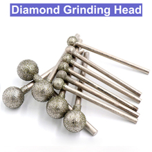 10 stks 2.35/3mm Shank Diamant Slijpen Hoofd Sferische Set Gecoat Gemonteerd Bollen Bit Burr Lapidary Tool Steen edelsteen voor Dremel