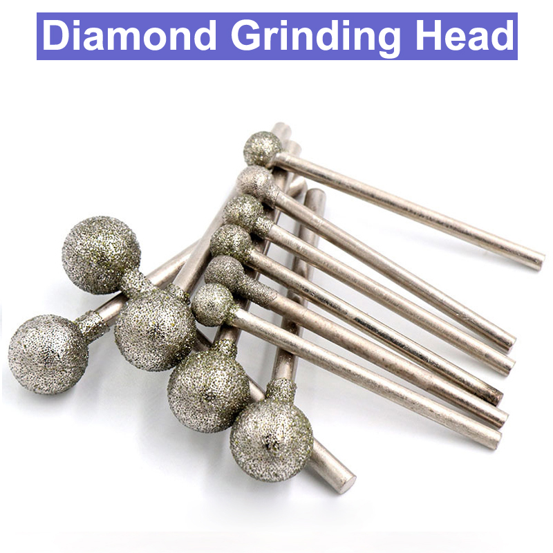 10pcs 2.35/3mm Shank Diamond Grinding Head Spherical Set Coated Mounted Spheres Bit Burr Lapidary Tool Stone Gemstone For Dremel