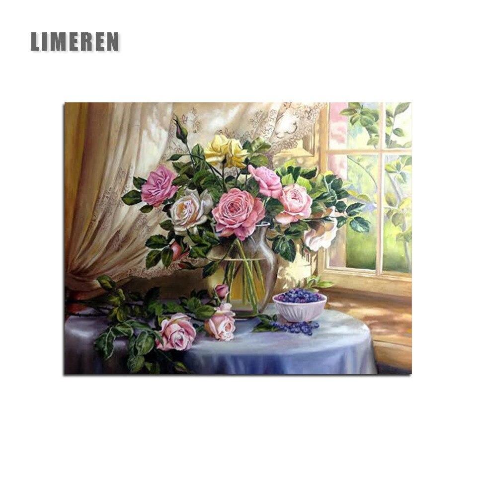 Online Shop Rose Bouquet Kaligrafi Lukisan Bunga Minyak Lukisan