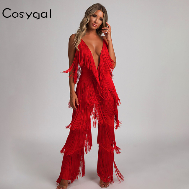 COSYGAL Fringes Rompers Jumpsuit Jumpsuits & Rompers Women color: Black|Red|White
