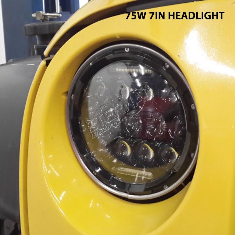 pair 75W 7inch round LED headlight dual sealed beam for wrangle JK FJ 4x4 off-road Lada niva headlamp replcement h4 plug 7 inch headlamp offroad 7 led headlight driving for jk wrangler defender 4x4 off road lada niva 4x4 suzuki samurai