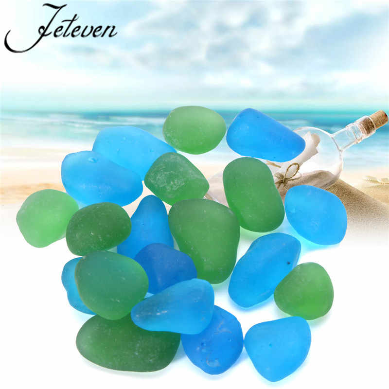 20pcs Sea Beach Glass Beads 12-18mm Blue Green Bulk Beading Sand Stone For Earrings Necklace Bracelet Pendant Jewelry Finding