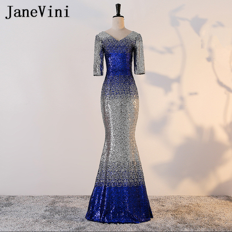 JaneVini Shiny V-Neck Sequined   Bridesmaids     Dress   Floor Length Mermaid Long Formal Women Party Prom   Dresses   With Half Sleeve 2019