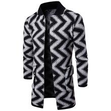 Men's Knit Cardigan Thick Sweater Coat Knitwear Casual Long Line Jacket Outwear V-Neck Striped Cotton Coat Coarse Wool Pattern