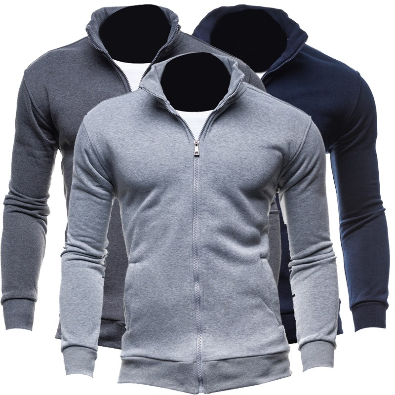 Autumn Cardigan Solid Plain Men Hoodies Jackets Basic style Long Sleeve Full Zipper Casual Sweat Homme Men Hoodie Sweatshirt