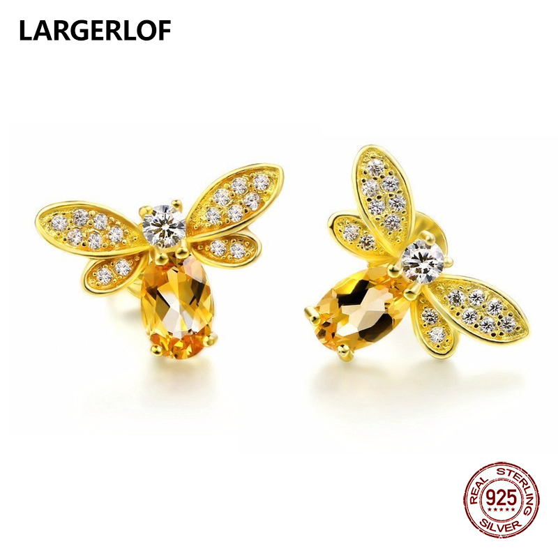 LARGERLOF 925 Sterling Silver Earrings For Women Fine Jewelry Citrine Silver 925 Jewelry Crystal earrings ED37001 недорго, оригинальная цена