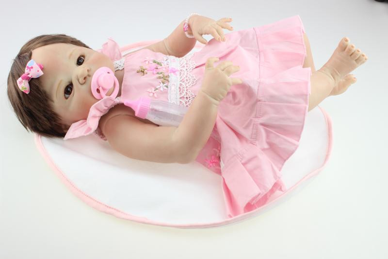 22inch Victoria  full silicone reborn baby doll toys play house reborn babies nude  kids child brithday girls Bonecas brinquedos