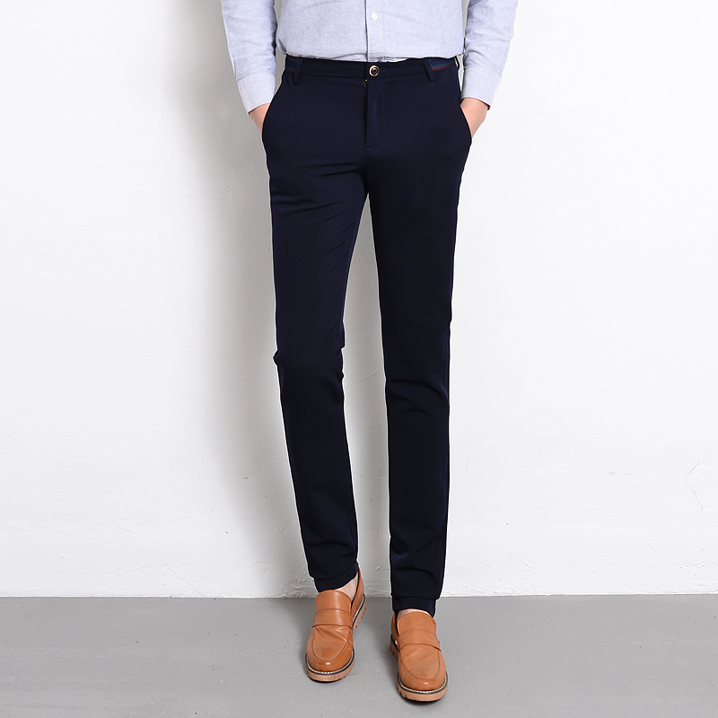 New Brand Clothing Dress Slim Men Pants Black Blue Solid Formal Business Suit Pant Male Autumn ...