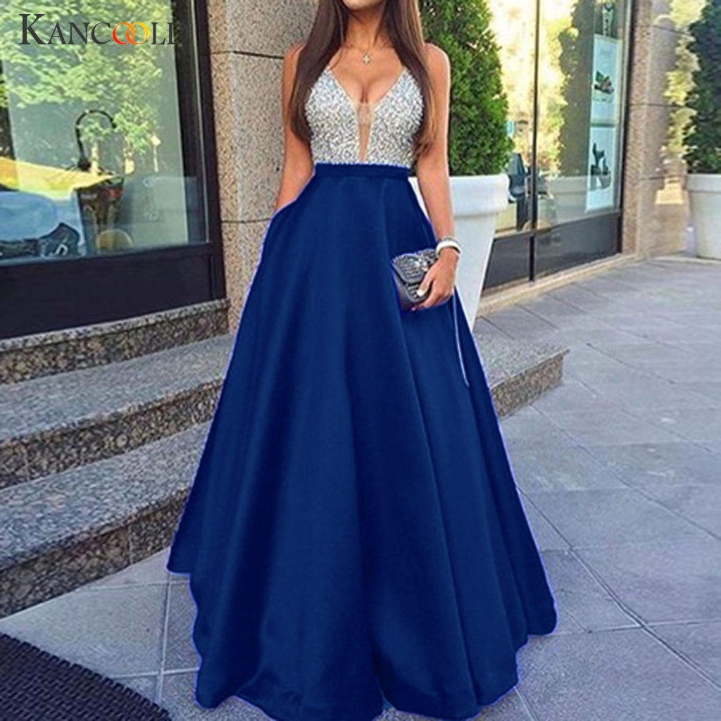 KANCOOLD Dress Women Sleeveless V Neck Sequined Wedding Elegant Party Dress Evening Slim Maxi Fashion New Dress Women 2019JAN25