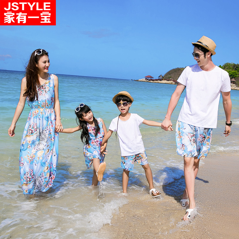 Matching Father Mother Baby Clothing Daughter Mother Colorful Maxi Dress Father Son Beach Shorts T-shirt Family Matching Clothes 2015 summer family clothing sets mother father child matching dad mom daughter son t shirt and shorts family look ma e filha