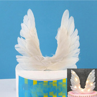 Light Up Feather Angel Wing Cake Toppers Cupcake Dessert Topper Birthday Cake Decoration Wedding Festival Party Supplies