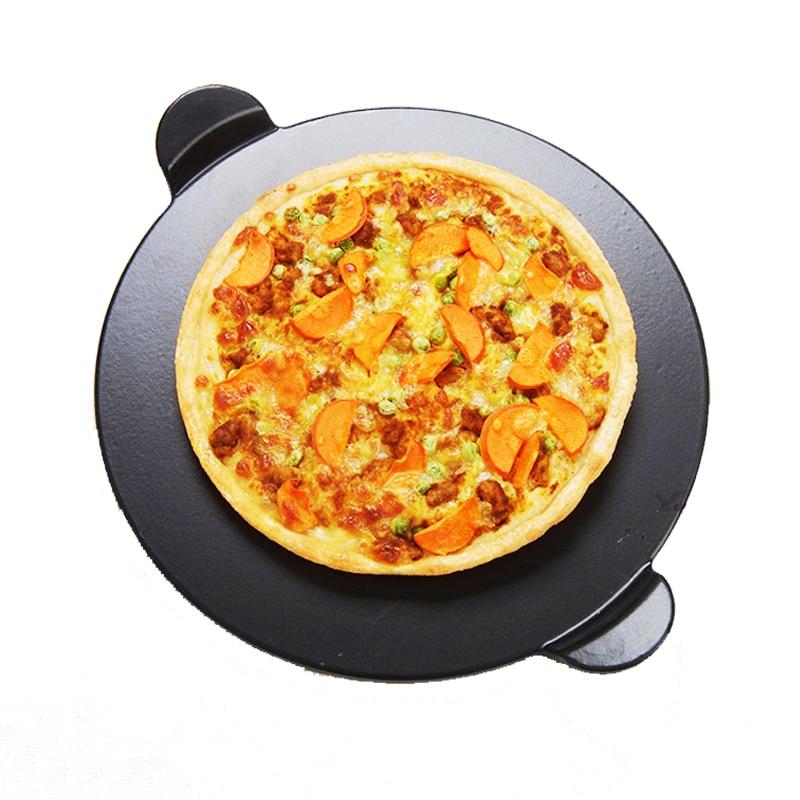 Alta qualidade preto esmalte pizza placa redonda refratário cerâmica isolamento placa de pedra pedras pizza pizza pan bakeware pizza ferramentas