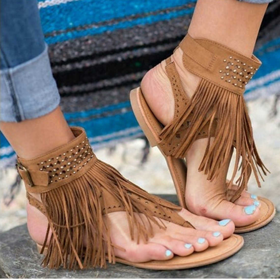 2c2ea9e815b8b2 ... Women Sandals Fashion Tassel Summer Shoes Women 2018 New Flat Sandals  Female Flip Flops Casual Sandale ...