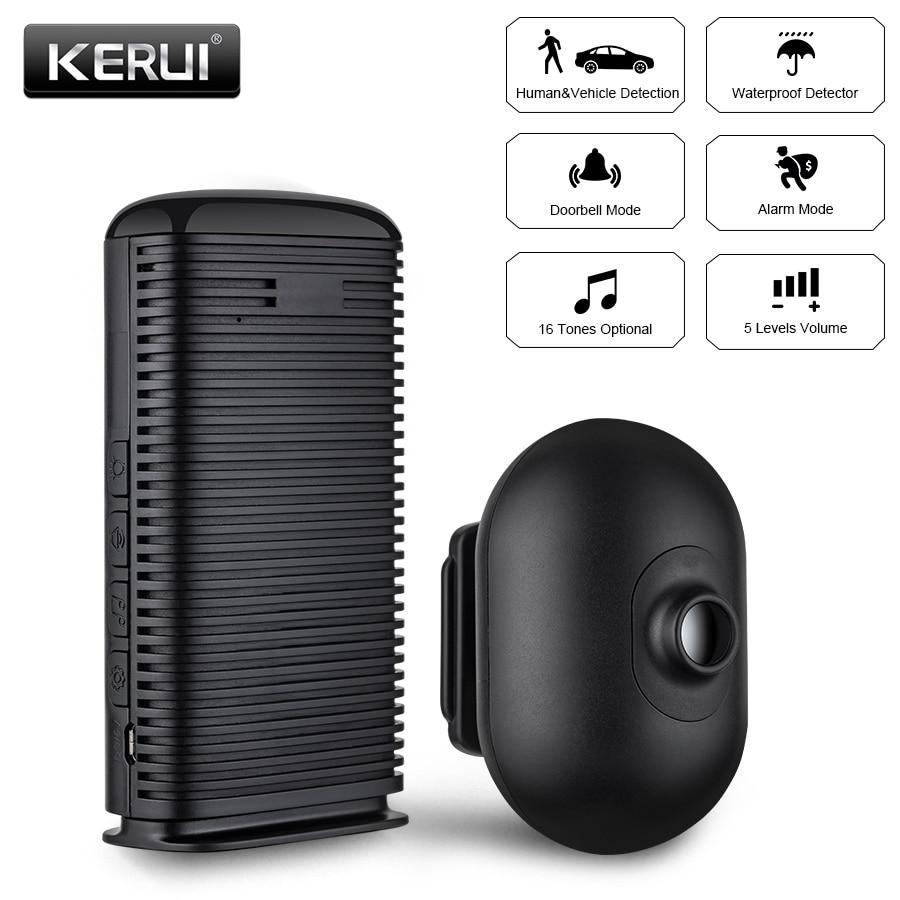 KERUI DW9 Allée Alarme Sans Fil Alarme de Sécurité Étanche PIR Motion Sensor Détecteur Allée Garage antivol Système D'alarme