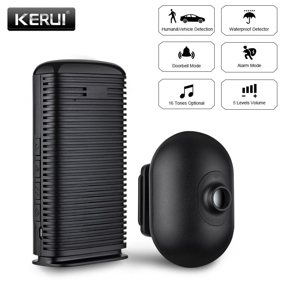 KERUI DW9 alarma de entrada alarma de seguridad inalámbrica impermeable PIR Sensor de movimiento Detector calzada garaje sistema de alarma antirrobo