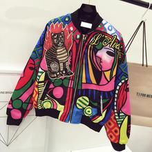 New Queen Embroidery Bomber Jacket Women Harajuku Cat Pilot