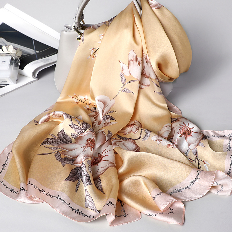 Image 3 - Japan Design New Silk Scarf Women Shawl Wrap Elegant Gift For Lady Floral Pashmina Natural Silk Scarf Foulard 1 PC4-in Women's Scarves from Apparel Accessories