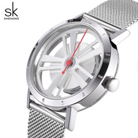 Shengke Luxury Quartz Watch Women Silver Bracelet Watches Stainless Steel Relojes Mujer 2018 SK Creative Ladies