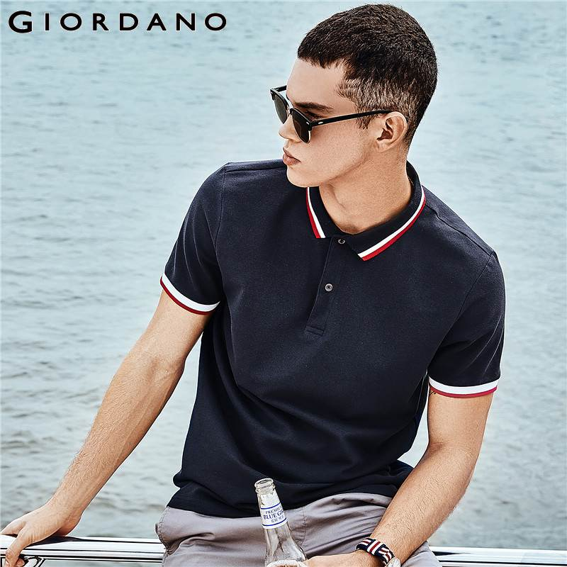 Giordano Men Slim   Polo   Pique Stretchy   Polo   Shirt Men Stripes Ribbed Collar Tops Short Sleeve Tee Shirt Camisa Masculina