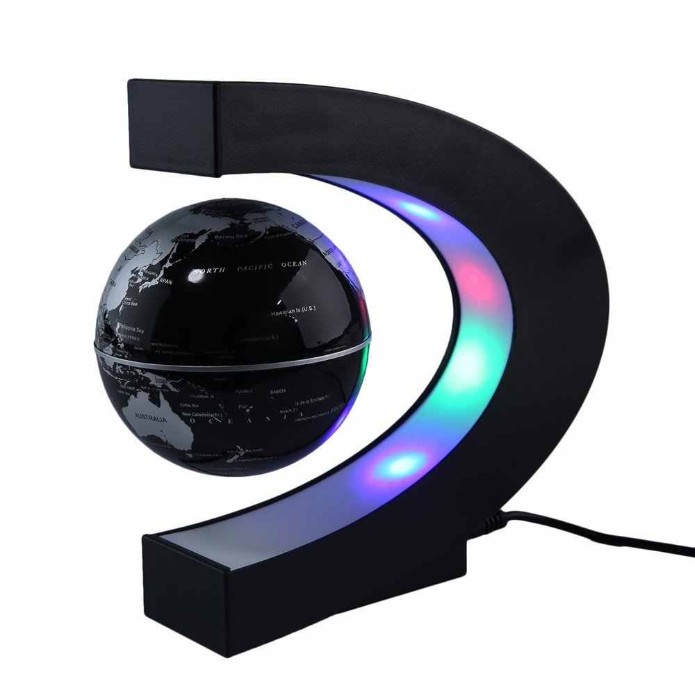 LED Lights with Floating Globe C Shape Magnetic Levitation Night light Floating Globe World Map Illuminated for Desk Decoration