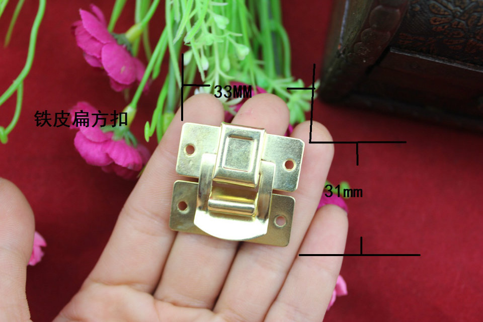 33*31MM 30pcs butterfly antique Leather suitcase hasp cabinet drawers padlock latch wooden jewelry box hardware buckle