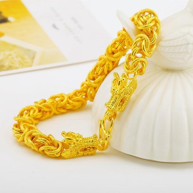 2670410c6db7 Pulsera gruesa oro amarillo lleno pulsera de cadena para hombre con diseño  de la cabeza del