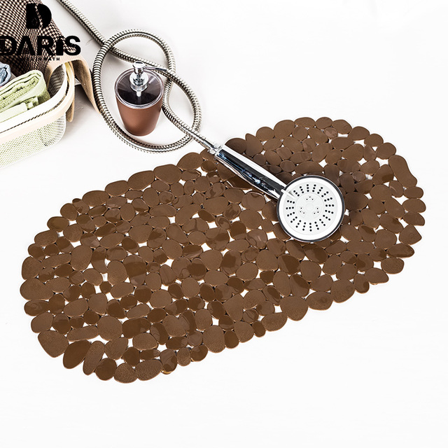 DARIS Silicone Cobblestone Plain Bathroom Mat Non slip oval PVC Bath ...