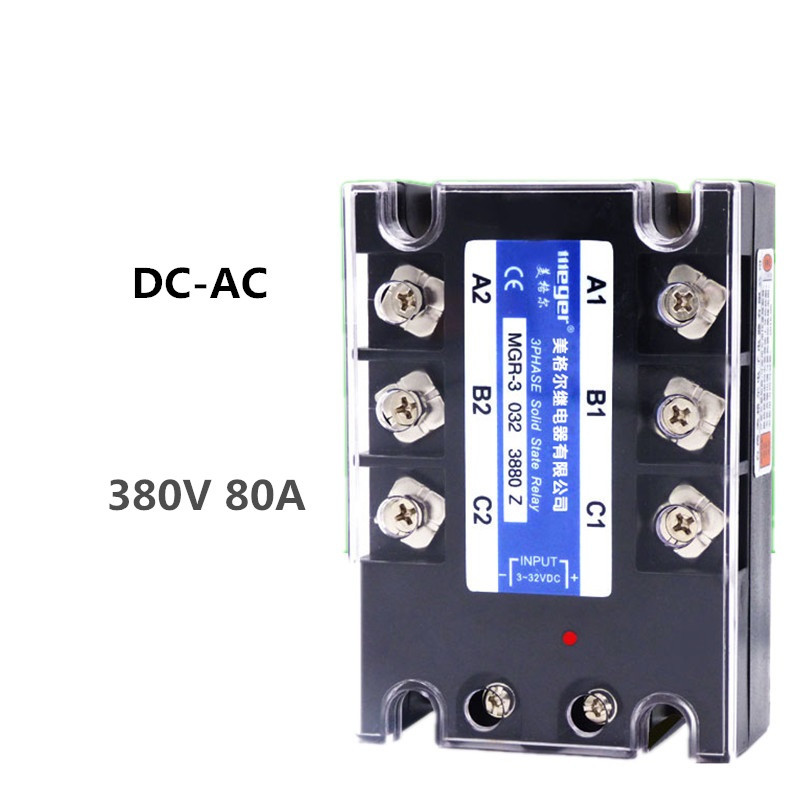 Three-phase solid state relay 380V 80A MGR-3 032 3880Z DC-AC high quality ac ac 80 250v 24 380v 60a 4 screw terminal 1 phase solid state relay w heatsink