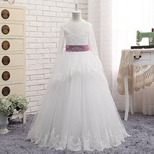 NANWUJI  Real Photos Lace Long Sleeve Flower Girls Dress A Line First Communion With Ribbon