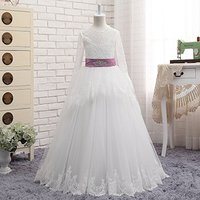 NANWUJI Real Photos Lace Long Sleeve Flower Girls Dress A Line First Communion Dress With Ribbon
