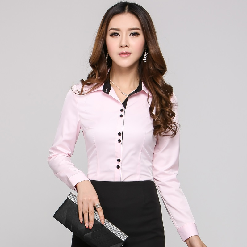Awesome Shirts Women Long Sleeve White Blouses Ladies Office Uniform Shirts