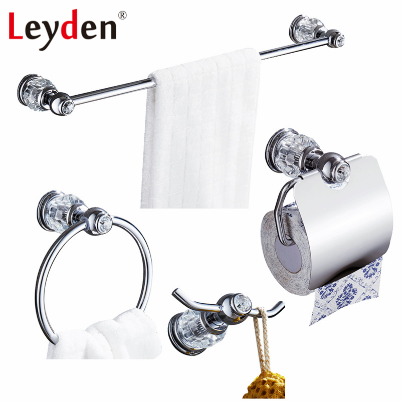 Leyden 4pcs Luxury Brass Towel Bar Towel Ring Toilet Paper Holder Robe Hook Wall Mounted Chrome Crystal Bathroom Accessories Set 1pcs current detection sensor module 50a ac short circuit protection dc5v relay