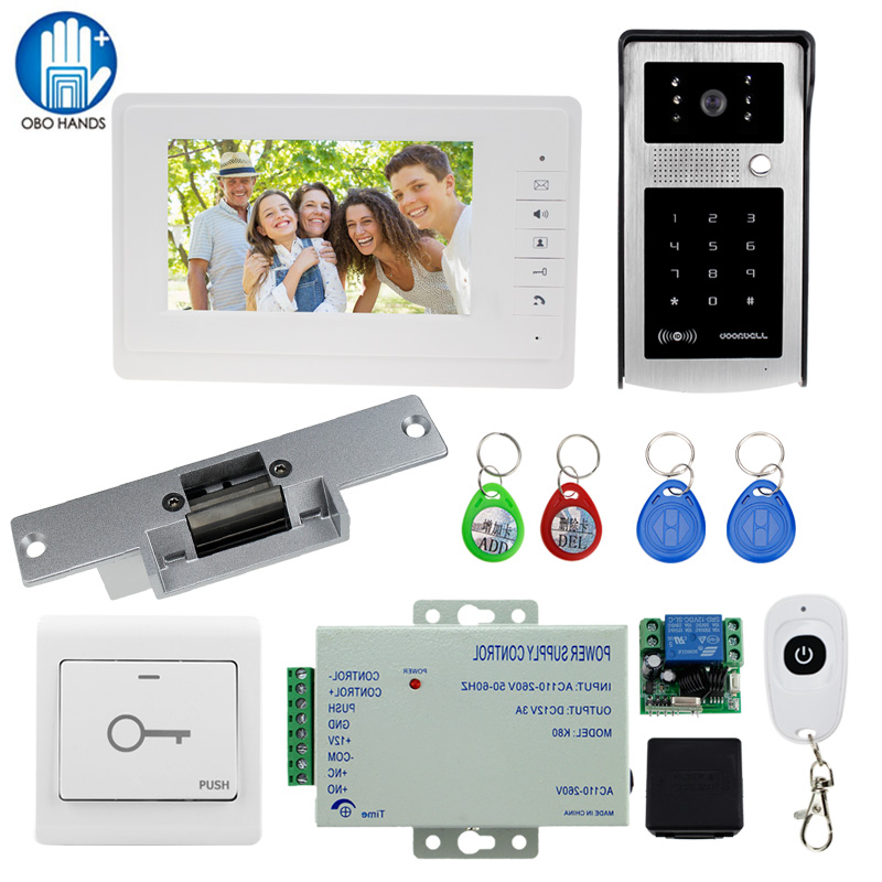 Wired 7 Video Door Bell Intercom Entry System 1 TFT LCD Indoor Monitor + 1 RFID Access Control 700TVL IR Camera +Electrict Lock wired video door phone intercom doorbell system 7 tft lcd monitor screen with ir coms outdoor camera video door bell