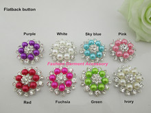 (CM818 33mm)50pcs Hot Sale 8 Colors Flower Metal Rhinestone Pearl Button Flatback For Baby Hair Flower