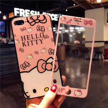 For iPhone 8 8plus Hello Kitty glass Case +Tempered Glass Screen film , Cute KT case for iPhone 7 7plus 6 6S 6SPlus Fudas +strap