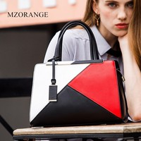 2018 Luxury Top Quality Genuine Leather Women Handbags Fashion Panelled Design Shoulder Bags For Ladies Commut