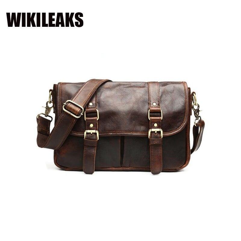 Vintage Cowhide handbag Wax Oil Genuine Retro Cow Leather Black Coffee Satchel Soft Postman Shoulder Crossbody Messenger Bags