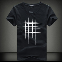 SWENEARO 2018 Simple creative design line cross Print cotton T Shirts Men's New Arrival Summer Style Short Sleeve Men t-shirt