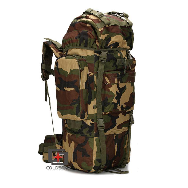 ФОТО Large Capacity 65L Waterproof Outdoor Metal Frame Camping Tactical Travel Backpack Hiking Bag Mountaineer Rucksack w/ Rain Cover
