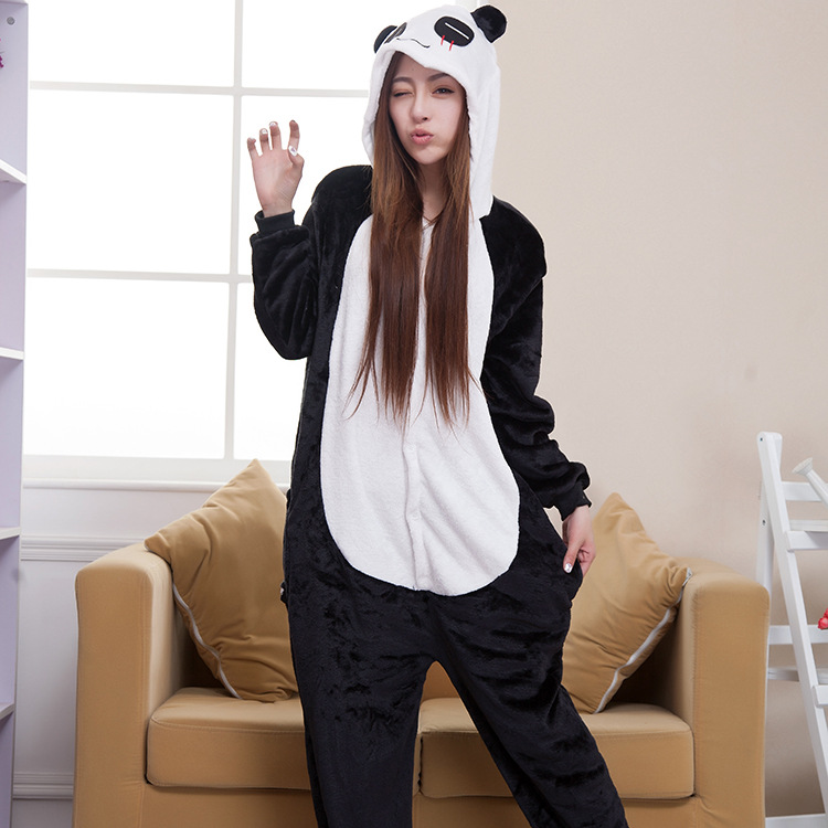 Halloween Autumn and Winter Pajama Sets Cartoon Sleepwear Women Pajamas Christmas Flannel Animal Panda Pajama