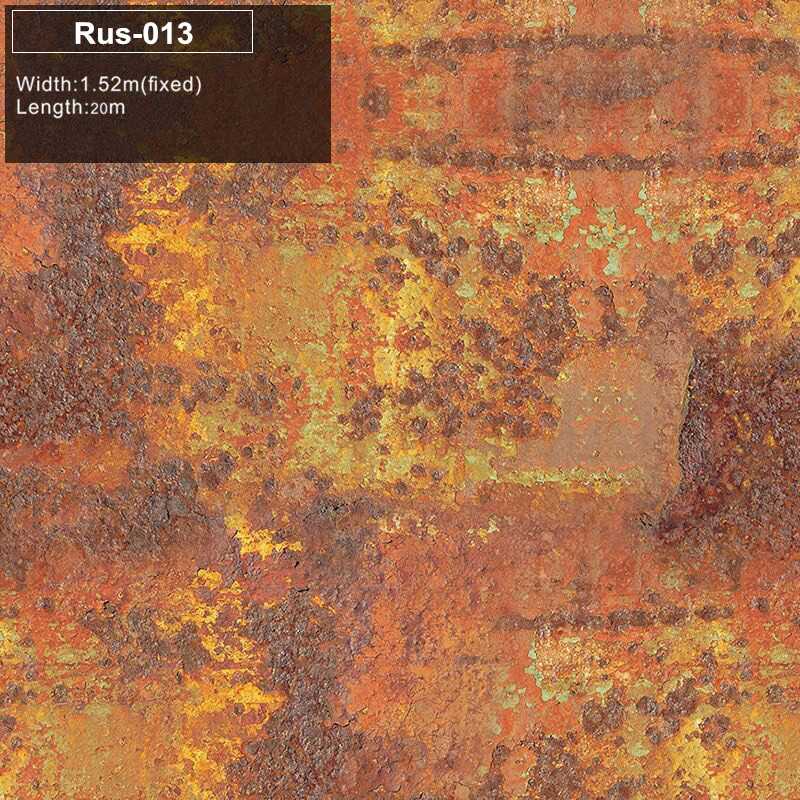 RUS 013 Car Styling Rust Wrapping Vinyl Film With Air Bubble Free Vehicle Car Boat Rusty Wrap Decal Size: 1.52*20m/30m iron rust vinyl wrap film for car wrap rust style wrapping colored car full body wrap vinyl sticker bomb air bubble free ir 8