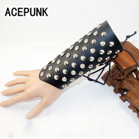Punk Men'S Bracelet Leather Cuff Bracelets & Bangles Rivet Wristband Wax Rope Adjustable Size Bracelet