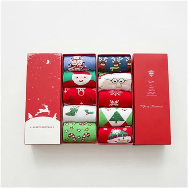 Christmas Socks Gift Box Cartoon Lady Adult Tube Socks Holiday Socks Comfortable Warm Birthday Gift Big