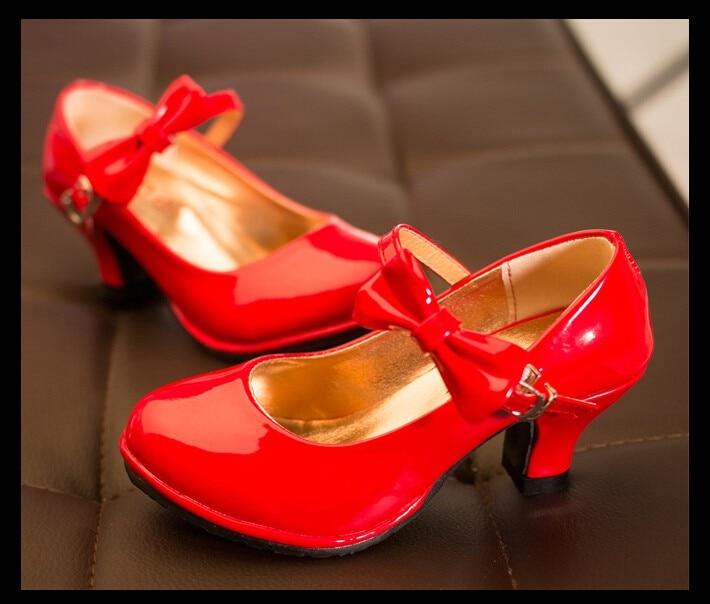 Fashion Patent Sandals High Heels Children Princess Shoes 2017 Spring Children Shoes Girls Sandals Shoes Pink Red Black