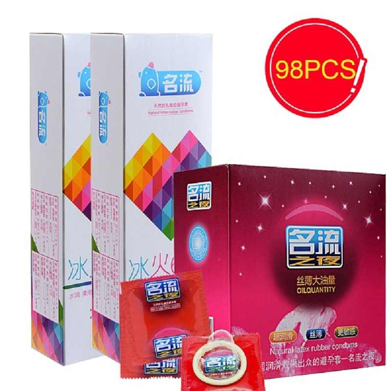 PERSONAGE 98Pcs Men Penis Sleeve Condom 7 Types G spot Utra Thin Smooth Rose Flavor  Lubricated Contraception Condoms Sex Toys