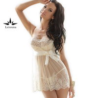 Leiouna 2017 New Lace Sexi Woman Dress Sexy Nightwear Large Size 5xl Lingerie Transparent Night Gown
