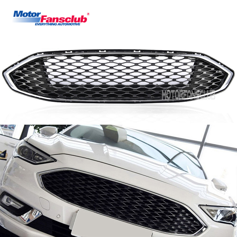 1Pcs Car Racing Grille For Ford Mondeo Fusion 2016-2017 Grill ABS Black Chrome Radiator Trim Front Bumper Modify Honeycomb Mesh 2pcs car racing grille for ford fiesta 2014 2015 2016 grill abs black radiator chrome front bumper upper lower modify mesh